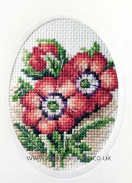 Anemones Greeting Card Cross Stitch Kit